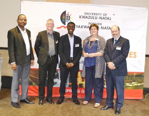 CEO of the South African Chamber of Commerce Mr Alan Mukoki with academics from UKZN and Chemnitz